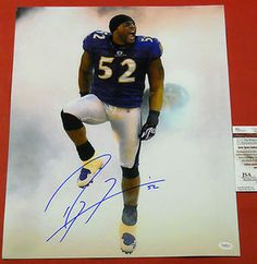 """d4bdb25e0  115.44 Autographed Ray Lewis Baltimore Ravens 16 X 20 smoke photo. Ray  added """"52"""" for his jersey number to his bold signature!"""