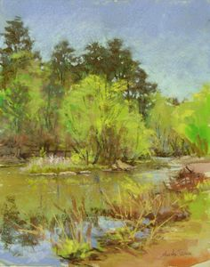 """""""Rope Mill Grasses"""" is a 14""""x11"""" plein air pastel painting and unframed. I painted this plein air (on location) at Rope Mill Park which is located just outside and North of Woodstock, GA. I love painting creeks and rivers with rocks ... not to mention trees and green! Those types of scenes always inspire me and I can't wait to get it down as a painting or sketch. This is Little River and is a beautiful place to paint or picnic!"""