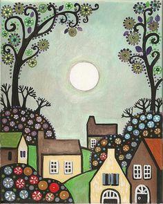 The Village Print By Margaryta Yermolayeva