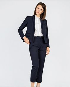 Navy Tailored Suit Jacket with Salmon Fish Leather Pocket Details