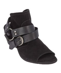 Look at this Black Rafael Leather Peep-Toe Bootie on #zulily today!