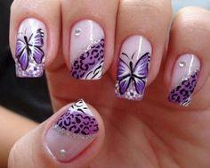 Purple Butterfly Nail Design fashion summer nails nail polish summer fashion nail art manicure