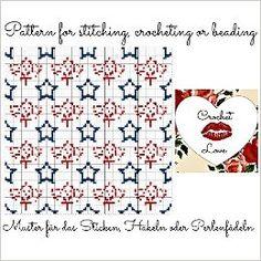 Stars and Leaves: Pattern for stitching, crocheting or beading - Muster für das Sticken, Häkeln oder Perlenfädeln
