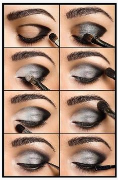 Dark Silver Smokey Eye make-up