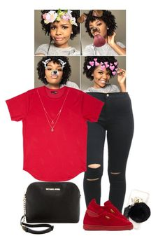 """""""."""" by xtiairax ❤ liked on Polyvore featuring Ashlyn'd, Puma, Forever 21 and MICHAEL Michael Kors"""