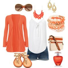 Cute coral summer outfit - the shorts just need to be a tinsey bit longer LOL