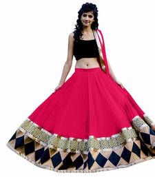 Buy Pink embroidery georgette unstitched lehenga choli lehenga-choli online