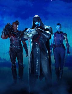 "Empire Magazine August 2014: Marvel's Guardians of the Galaxy: ""Villains"" cover, sans branding. feat. Lee Pace as Ronan The Accuser, Karen Gillan as Nebula, and Djimon Hounsou as Korath The Pursuer"