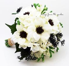 Black White Bouquet Anemone Freesia Hydrangea Eucalyptus Bouquet | SongsFromTheGarden - Wedding on ArtFire