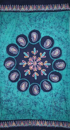 Handmade Cotton Multi Batik Floral Mandala Block Print Curtain Drape Green 47x85