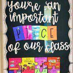 Puzzle Bulletin Boards, Elementary Bulletin Boards, Kindergarten Bulletin Boards, Classroom Bulletin Boards, First Grade Classroom, Preschool Classroom, Welcome Door Classroom, Classroom Door Decorations, School Welcome Bulletin Boards