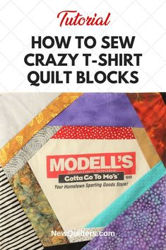 Tired of boring t-shirt quilts? Photo tutorial from NewQuilters.com shows you how to turn tee shirts into dramatic quilt blocks that make fabulous memory quilts and also use up your scraps! #t-shirtquilt #crazyquilt #scrappyquilt #quiltpiecing #tshirtquiltideas Quilting For Beginners, Quilting Tips, Scrappy Quilts, Easy Quilts, Crazy Quilt Blocks, Memory Quilts, Shirt Quilts, Foundation Piecing, Leftover Fabric