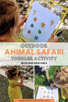 Your toddler will love this outdoor scavenger hunt as they find the hidden safari animals. Includes FREE scavenger hunt printable Preschool Learning Activities, Preschool At Home, Sensory Activities, Learning Resources, Preschool Activities, World Play, Inspired Learning, Math Literacy, Preschool Kindergarten