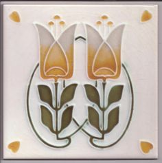 Art Nouveau Stylised Tulip Ceramic Tile ref 029