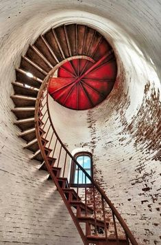 Interior spiral stairs, red and white