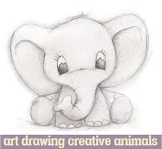 Cute Elephant by Clare Thompson - .-Niedlicher Elefant von Clare Thompson – Cute elephant by Clare Thompson – – - Cute Animal Drawings, Pencil Art Drawings, Drawing Animals, Easy Drawings Of Animals, Animal Sketches Easy, Sketches Of Animals, Cute Baby Drawings, Pencil Drawing Pictures, Kid Drawings