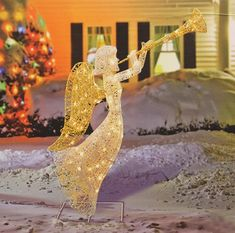 """Amazon.com : 48"""" Glittered Trumpeting Angel Lighted Christmas Yard Art Decoration : Outdoor Christmas Decorations : Patio, Lawn & Garden"""