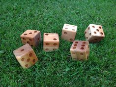 Made from cedar 4x4 post. Thanks Pinterest for the idea of yard Yahtzee. (I want these as garden decorations)
