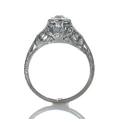 Leigh Jay Nacht Inc. - Art Nouveau Engagement Ring - VR489-07
