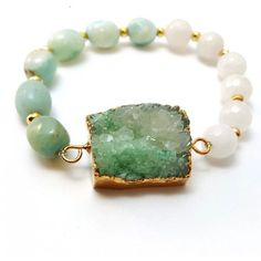 Druzy Quartz Turquoise Amazonite Gold Seed Bead and Snow Quartz... (€27) ❤ liked on Polyvore featuring jewelry, bracelets, green turquoise jewelry, beaded bangles, druzy jewelry, gold jewellery and green quartz jewelry