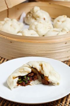 Char Siu Bao (Chinese BBQ Pork Buns) Recipe : Light and airy steamed buns filled with tasty BBQ pork. Chinese Bbq Pork Bun Recipe, Bbq Pork Buns Recipe, Pork Recipes, Asian Recipes, Cooking Recipes, Chinese Recipes, Char Siu, Oriental, Asian Cooking