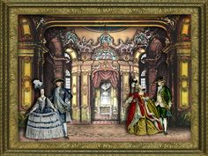 Rococo Toy Theater & 18th Century Fashions by EKDuncan. Digital scene in the spirit of traditional toy theaters. Toy theater backgrounds were used to create the scene. See more at http://www.ekduncan.com/2012/05/rococo-toy-theater-18th-century.html