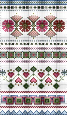 Cross stitch pattern - borders - spring
