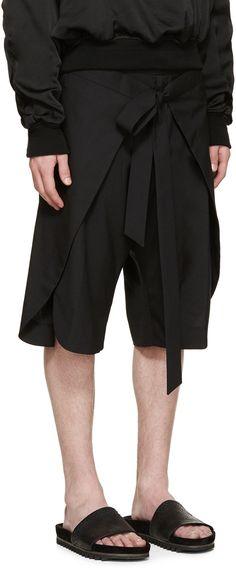 D.Gnak by Kang.D Black Wrap Open Shorts