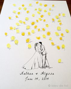 Unique wedding guestbook, Custom Couple drawing with thumbprint wish lanterns