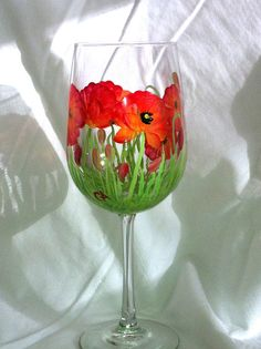 Handpainted Wine Glasses  red poppies  set of 2 by glasschris, $25.00