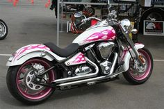Great idea for pink flames paint job on this Kawasaki Vulcan. Check out photos of other pink motorcycles by clicking on the link.