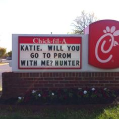 What a fun way to ask someone to prom.... See if a local restaurant or other shop will let you post a promposal on their sign!