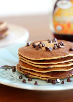Wake Up With Pancakes! Banana peanut butter chocolate chip protein pancakes - Protein Pancake Recipes
