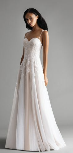 76c252188e680 Style 7903 Ruby Ti Adora by Allison Webb bridal gown - Ivory / Cashmere lace  and English Net A-line gown. Sweetheart neckline with spaghetti straps and  ...