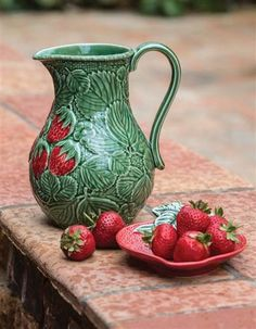 STRAWBERRY PITCHER - Sangria anyone? Porcelain.