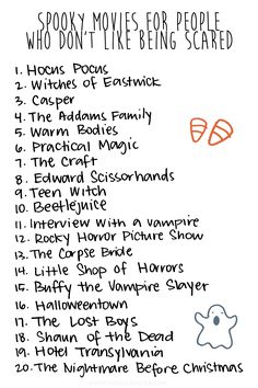 A list of good spooky movies to watch for people who don't like to be scared, but wanna get into the Halloween spirit. Halloween Movie Night, Halloween Season, Spirit Halloween, Holidays Halloween, Happy Halloween, Halloween Party, Halloween Movies List, Halloween Quotes, Halloween Activities