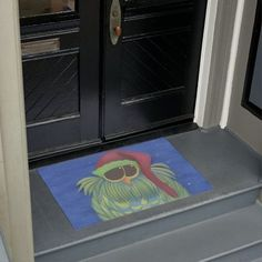 Ernesto the Secret Santa Owl Doormat by One Artsy Momma #doormat #doormats #seasonaldoormat #owl #owls #owldoormat #owldoormats #holidaydoormat