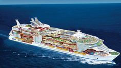 Monster of the deep: World's largest cruise ship is so vast that guests will have to use GPS to find their rooms! At 124ft longer than the Eiffel Tower is tall – the new Harmony Of The Seas is the largest cruise ship ever to set sail It's so vast it even houses scaled down version of New York's Central Park complete with 10,587 plants and 52 trees Across 18 decks, the ship, which cost over £800 million to build, has 16 restaurants, cafes and boutique shopping Harmony Of The Seas also has