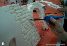 in this Step-by-Step guide, I will explain how to create old brick walls for a miniature Diorama. in this Step-by-Step guide, I will explain how to create old brick walls for a miniature Diorama. Christmas Village Display, Christmas Villages, Old Brick Wall, Brick Walls, Foam Carving, Old Bricks, Model Train Layouts, Miniature Houses, Model Trains