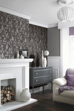 This lovely charcoal floral trail wallpaper design is called Catalina.