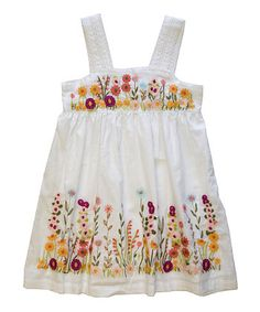 White Floral Summer Sonata Dress - Girls