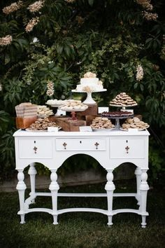 Here is a smaller dessert buffet set up on a dresser. Dessert Buffet Table, Buffet Tables, Candy Buffet, Outdoor Buffet, White Buffet, Vintage Buffet, Wedding Table, Wedding Ideas, Wedding Decor