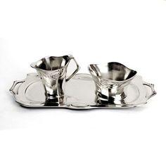 Art Nouveau Tinnen Set voor Melk en Suiker. Verkrijgbaar bij www.artdecowebwinkel.com.