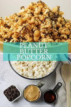 Peanut Butter Popcorn, Flavored Popcorn, Vegan Peanut Butter, Peanut Butter Recipes, Healthy Popcorn Recipes, Yummy Snacks, Snack Recipes, Honey Chocolate, Chocolate Popcorn
