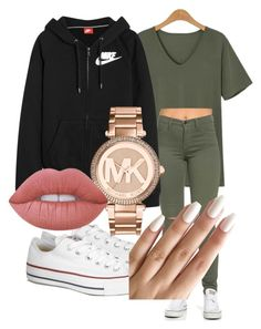 """regular day"" by rabiamiah on Polyvore featuring Converse, NIKE, Michael Kors and Lime Crime"