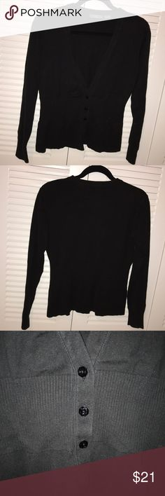 """kersh essentials - Black Cinched Waist Cardigan Never worn! A black cardigan from kersh essentials. Has a ribbed cinched waist and three black """"diamond"""" buttons. The hem of the cardigan and the endings of it's sleeves are also ribbed. This is sized as a L.  (Smoke-free home, but we are dog & cat friendly!) kersh essentials Sweaters Cardigans"""