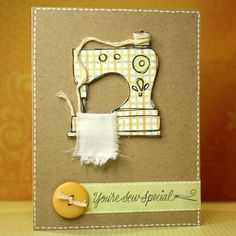 Have you seen the new digital kit from HeroArts? Once I saw it I just couldn't resist. This sewing machine is so cute. So here is todays card using just… Fabric Postcards, Fabric Cards, Freehand Machine Embroidery, Craftwork Cards, Sewing Cards, Cricut Cards, Mothers Day Cards, Handmade Birthday Cards, Cute Cards