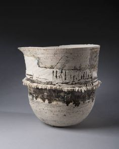 Ani Kasten,  Tall Black and White Vessel with Toothed Circumference