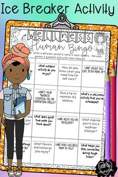 Doodle human bingo activity with a twist that focuses on wellness. Elementary School Counselor, School Counseling, Elementary Schools, Group Counseling, Icebreaker Activities, Counseling Activities, Classroom Activities, School Games, School Fun