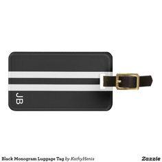 Black Monogram Luggage Tag